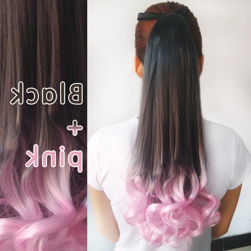 Ombre Rose Purple Red 18Inch (45Cm ) Lace Weft Curly Hair Ponytail For Ombre Curly Ponytail Hairstyles (View 4 of 25)