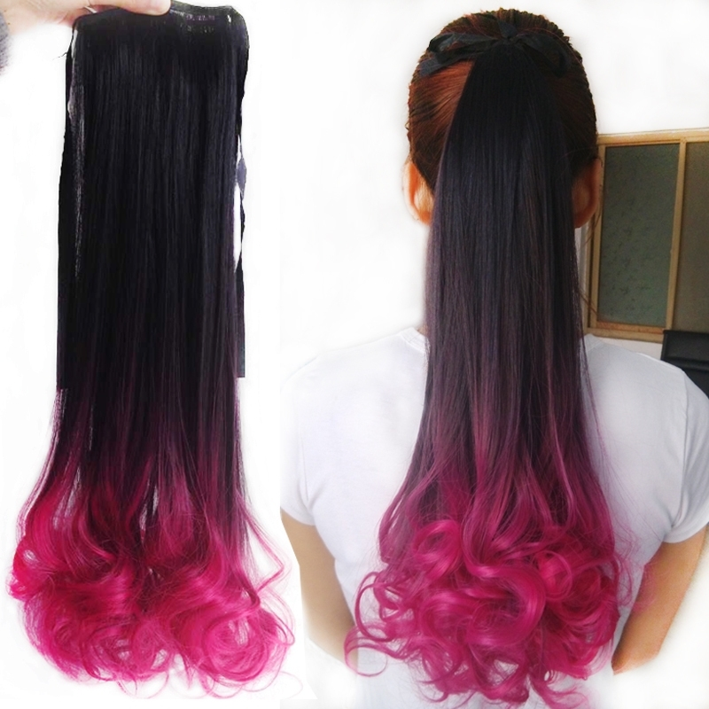 Ombre Rose Purple Red 18Inch (45Cm ) Lace Weft Curly Hair Ponytail Within Ombre Curly Ponytail Hairstyles (View 17 of 25)