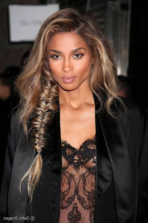 Paris Fashion Week: Ciara's Messy Fishtail Braid At Givenchy In Messy Volumized Fishtail Hairstyles (View 5 of 25)