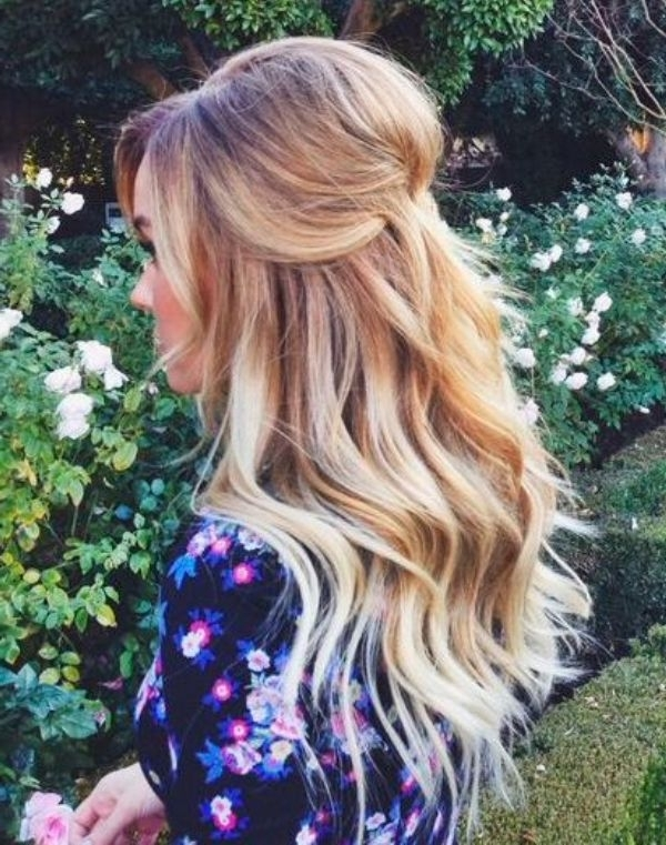 Picture Of Pretty Half Updo Wedding Hairstyles For Beachy Half Ponytail Hairstyles (View 25 of 25)