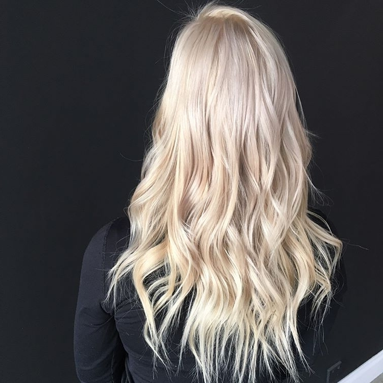 "Pin Ups Hair Parlour) On Instagram: ""??creamy Blonde & Beach Waves In Creamy Blonde Waves With Bangs (View 21 of 25)"