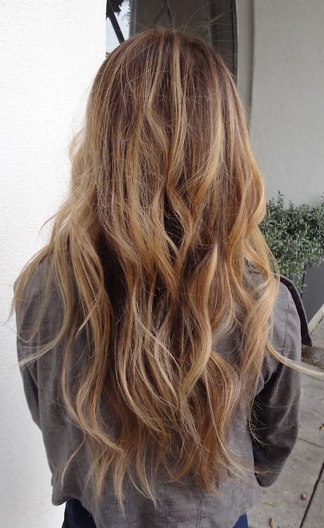 Pinbella Disanto On Hair | Pinterest | Hair Coloring, Brown And Pertaining To Honey Hued Beach Waves Blonde Hairstyles (View 12 of 25)