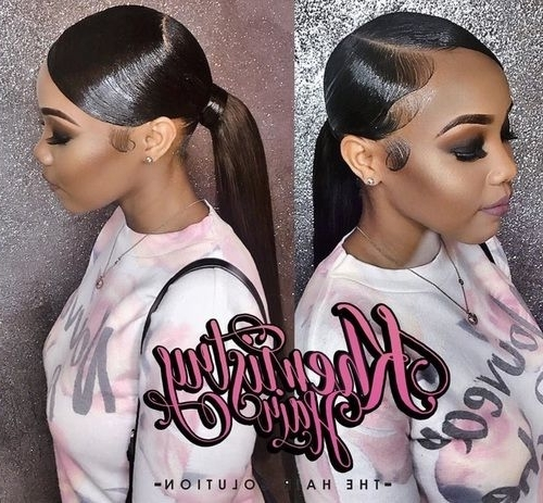 Pinkhyla On Laid Hairstyles? ? | Pinterest | Find Picture Pertaining To Weaved Polished Pony Hairstyles With Blunt Bangs (View 19 of 25)