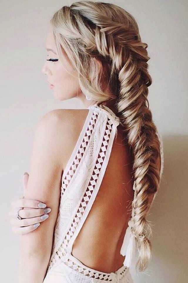 Pinsara On Hair In 2018 | Pinterest | Fishtail Braids, Fishtail Pertaining To Honey Blonde Fishtail Look Ponytail Hairstyles (View 5 of 25)