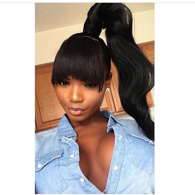 Pinshicaira Campbell On Hair | Pinterest | Ponytail, Black Girls Throughout Weaved Polished Pony Hairstyles With Blunt Bangs (View 3 of 25)