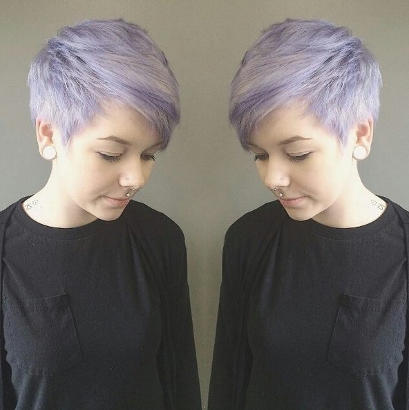 Pixie Haircuts With Side Swept Bangs – Balayage, Short Hairstyles Intended For Current Lavender Pixie Bob Hairstyles (View 22 of 25)