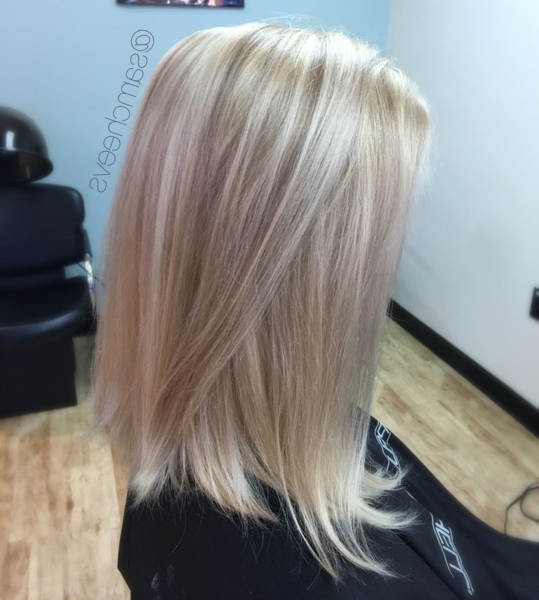Platinum White Butter Blonde Hair Color With Dirty Blonde Warm Sandy Throughout Long Bob Blonde Hairstyles With Lowlights (View 13 of 25)