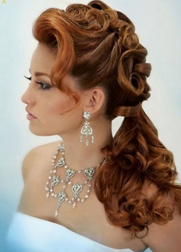 Ponytail Curly Hairstyles For Long Hair With Side Bangs For Weddding With Side Bangs And Pony Hairstyles For Wavy Hair (View 18 of 25)