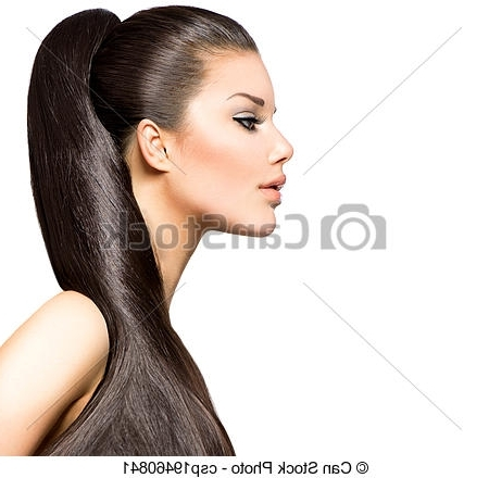 Ponytail Hairstyle. Beauty Brunette Fashion Model Girl (View 24 of 25)