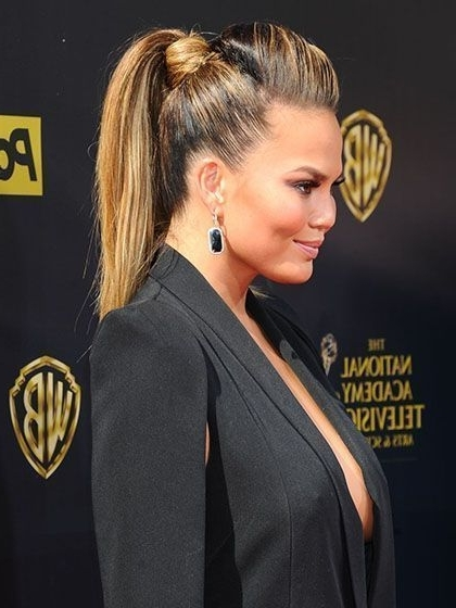 Ponytail Hairstyles – Chrissy Teigen's High, Voluminous Pony With A Pertaining To High Voluminous Ponytail Hairstyles (View 19 of 25)