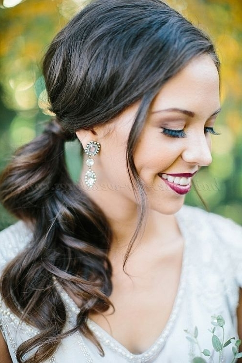 Ponytail Hairstyles – Wavy Side Ponytail Bridal | Wedding Hairstyles Pertaining To Low Ponytail Hairstyles With Waves (View 19 of 25)