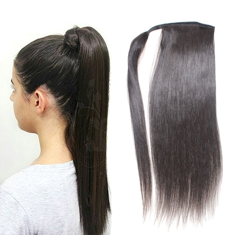 Ponytail With Clip Elesis Virgin Hair Regarding Wrapped Up Ponytail Hairstyles (View 14 of 25)