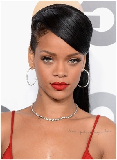 Pretty Classic Straight Ponytail Hairstyles: Rihanna Long Hair Pertaining To Side Bangs And Pony Hairstyles For Wavy Hair (View 20 of 25)
