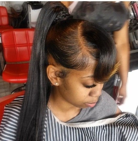 Quick Weave Long Ponytail | Hairstyles | Pinterest | Quick Weave With Weaved Polished Pony Hairstyles With Blunt Bangs (Gallery 8 of 25)