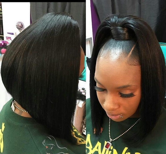Quickweave. | Black Hairstyles | Pinterest | Ponytail, Bobs And Regarding Low Black Ponytail Hairstyles With Bangs (Gallery 4 of 25)