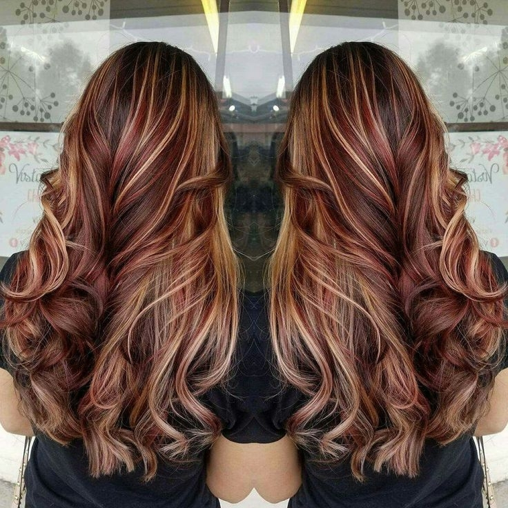 Red Hair, Balayage, Brown Hair, Blonde Highlights, Contrast, Long Throughout Contrasting Highlights Blonde Hairstyles (View 19 of 25)