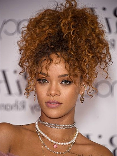Rihanna Human Blond Afro Kinky Curly Drawstring Ponytails Short Clip With Regard To Curly Blonde Afro Puff Ponytail Hairstyles (View 7 of 25)