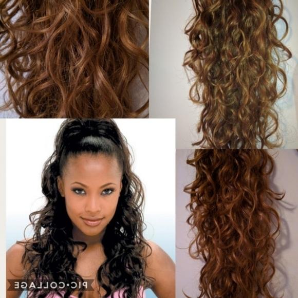 Rio Girl Drawstring Ponytail Brown Long Extension | Poshmark Throughout Embellished Drawstring Ponytail Hairstyles (View 22 of 25)