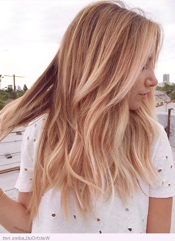 Ripped Tee, Rose Gold Blonde Hair | Blonde Hairstyles Golden Within Golden Bronze Blonde Hairstyles (View 1 of 25)