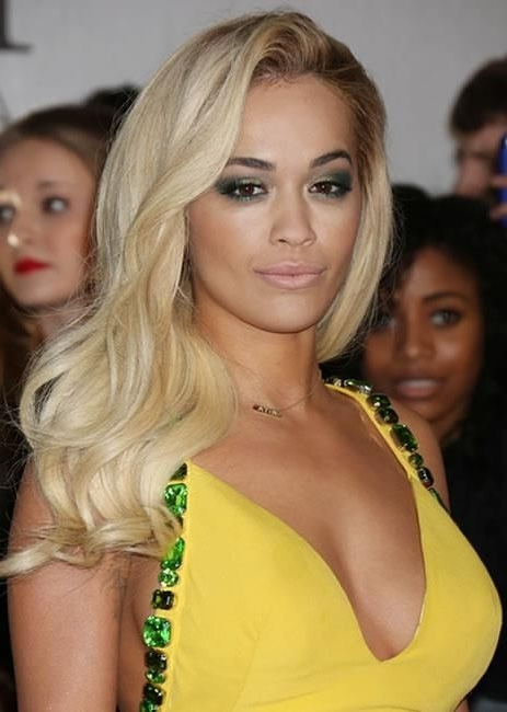 Rita Ora's Creamy Blonde Waves | Hairstyles | Pinterest | Creamy With Regard To Creamy Blonde Waves With Bangs (View 23 of 25)