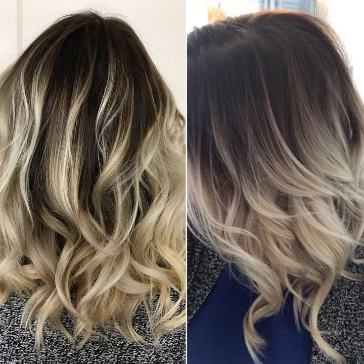 Rooted Balayage Blonde. Ash Blonde Hair Dark Roots (View 9 of 25)