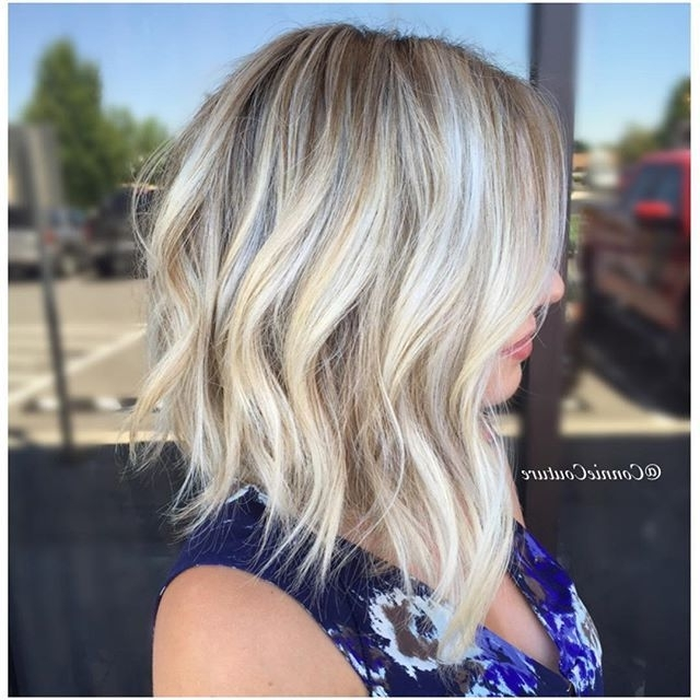 Rooty Blonde Lob ? | ? ? ???? ?????? ? ????? ? ? | Pinterest With Regard To Blunt Cut White Gold Lob Blonde Hairstyles (View 24 of 25)