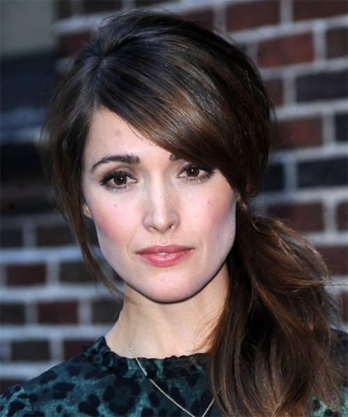 Rose Byrne Long Straight Casual Updo Hairstyle With Side Swept Bangs Inside Formal Side Pony Hairstyles For Brunettes (View 15 of 25)