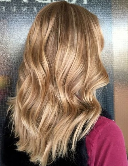 Rose Gold Hair Color Ideas For Caramel Blonde Long Hairstyles 2018 With Caramel Blonde Hairstyles (View 2 of 25)