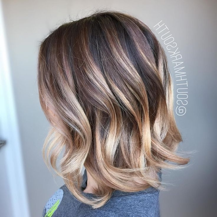 Rose Gold/pearl Blonde Balayage For Spunky Medium Ash Brown Lob Pertaining To Pearl Blonde Highlights (View 9 of 25)