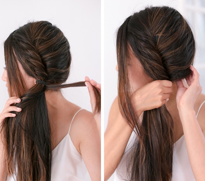 Runway Inspired Hair: Twisted Messy Side Fishtail Braid Tutorial With Wispy Fishtail Hairstyles (View 19 of 25)