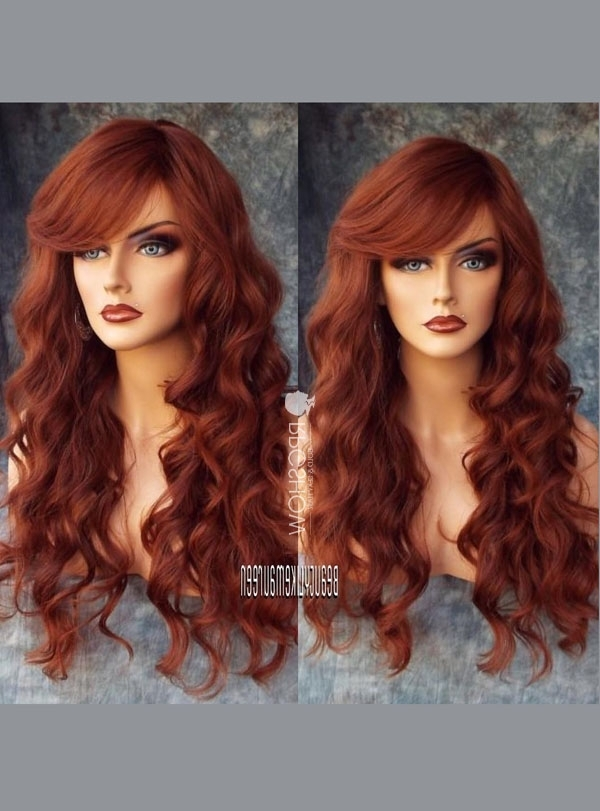 Rust Red Sexy Side Bangs Human Hair Lace Front Wig – Angel Regarding Ginger Highlights Ponytail Hairstyles With Side Bangs (View 15 of 25)