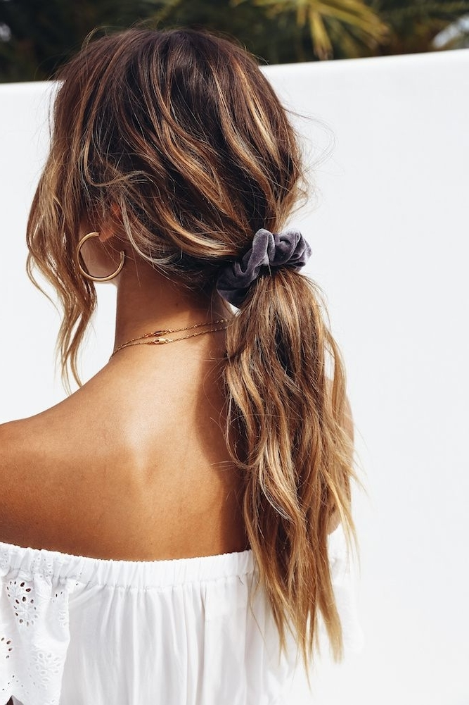 Self Made Scrunchie Grey In 2018   Updo   Goldplaited   Pinterest In Low Messy Ponytail Hairstyles (View 4 of 25)