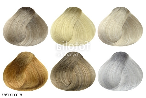 Set Of Locks Of Six Different Blonde Hair Color Samples (Arctic Intended For Light Ash Locks Blonde Hairstyles (View 25 of 25)