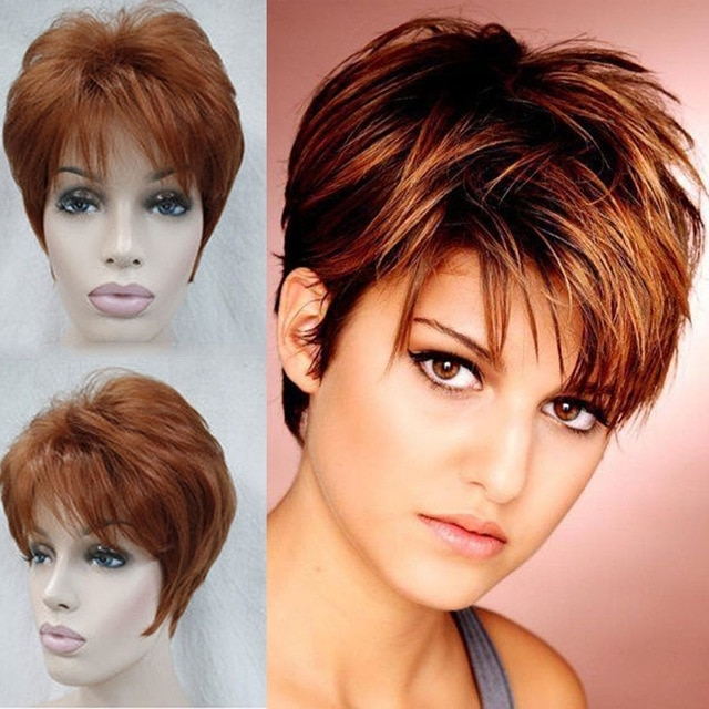 Sexy Reddish Brown Wig Pixie Cut Short Layered Hair Wig Female Heat For Best And Newest Reddish Brown Layered Pixie Bob Hairstyles (View 25 of 25)