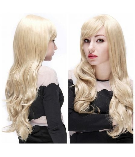 Sexy Women Side Bangs Light Blonde Synthetic Fiber Long Curly Wave With Bi Color Blonde With Bangs (View 15 of 25)