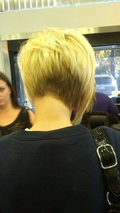 Short Asymmetrical Haircuts Back View – Google Search | Hair And Pertaining To Asymmetry Blonde Bob Hairstyles Enhanced By Color (View 24 of 25)