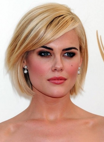 Short Blonde Bob Hairstyle With Side Swept Bangs For 2014   Girls Throughout Blonde Bob With Side Bangs (View 10 of 25)