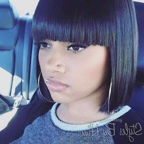 Short Blunt Cut Bob With Blunt Bang | Hair I Want To Wear Within Weaved Polished Pony Hairstyles With Blunt Bangs (View 23 of 25)