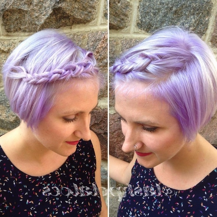 Short Braided Bob Haircut Pastel Bob Hairstyle With Braid – Popular Pertaining To Newest Lavender Pixie Bob Hairstyles (View 10 of 25)