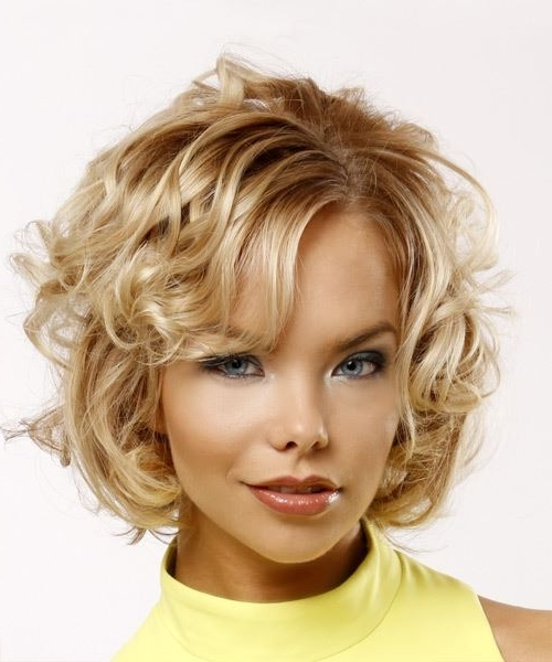 Short Curly Casual Hairstyle With Side Swept Bangs – Light Blonde Regarding Side Swept Warm Blonde Hairstyles (View 10 of 25)