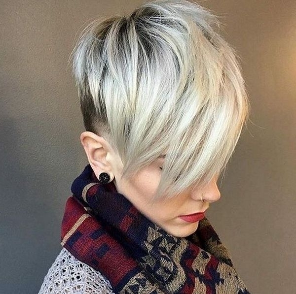 Short Haircuts 2018 2019 Gray Blonde Undercut Pixie | Hairstyles Within Most Current Sassy Undercut Pixie Hairstyles With Bangs (View 12 of 25)
