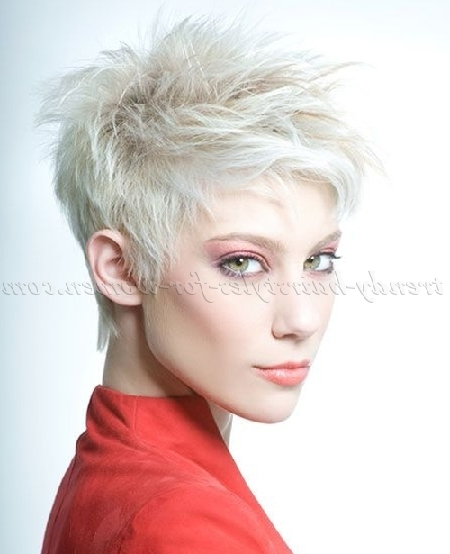Short Hairstyles – Platinum Blonde Short Spiky Hairstyle | Trendy For Platinum Asymmetrical Blonde Hairstyles (View 19 of 25)