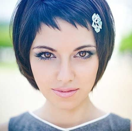 Short Hairstyles With Bangs In 2018 | Hararoj | Pinterest | Short In Latest Funky Blue Pixie Hairstyles With Layered Bangs (View 6 of 25)