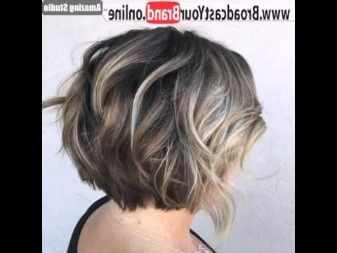 Short Layered Brown Bob With Blonde Balayage – Youtube Within Best And Newest Balayage Pixie Hairstyles With Tiered Layers (View 8 of 25)
