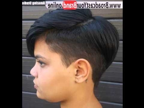 Short Sassy Womens Haircut With Temple Undercut – Youtube Inside Most Up To Date Pixie Bob Hairstyles With Temple Undercut (View 5 of 25)
