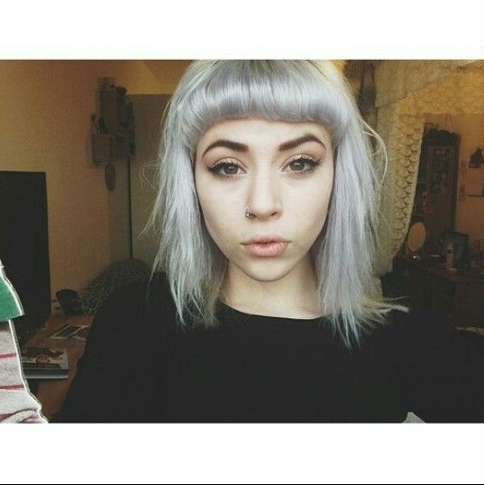 Short Silver Hair Straight Across Bangs | Hair | Pinterest | Silver Regarding Silver Bettie Blonde Hairstyles (View 4 of 25)