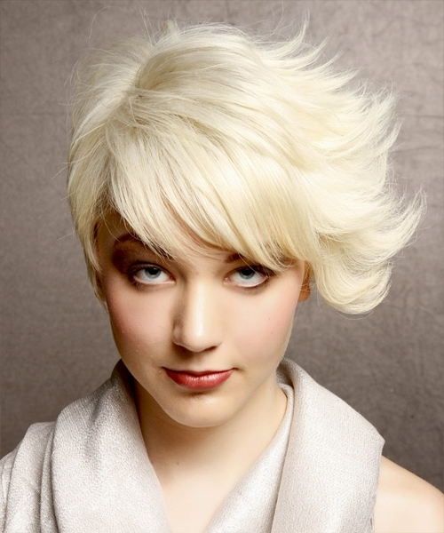 Short Straight Alternative Asymmetrical Hairstyle – Platinum Hair Color Within Platinum Asymmetrical Blonde Hairstyles (View 8 of 25)