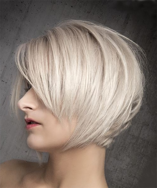 Short Straight Formal Bob Hairstyle With Side Swept Bangs – Light Within Most Recently Ash Blonde Pixie Hairstyles With Nape Undercut (View 25 of 25)