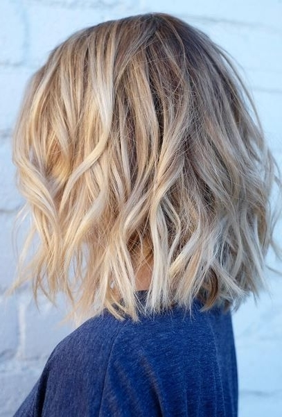 Short Textured Hair With Natural Blonde Highlights | Hair Color With Tousled Beach Babe Lob Blonde Hairstyles (View 11 of 25)