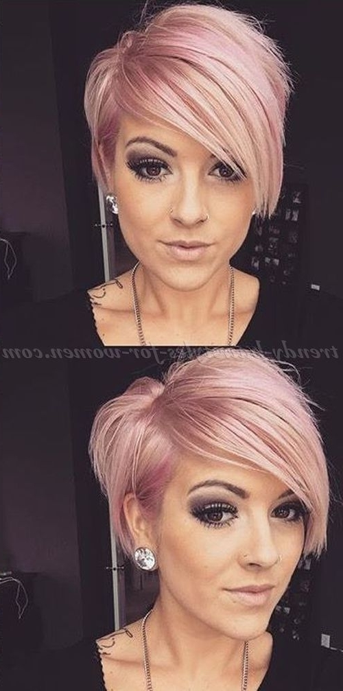 Short+Hairstyles+With+Long+Bangs+ +Short+Asymmetrical+Haircut | Cute Intended For Newest Funky Blue Pixie Hairstyles With Layered Bangs (View 13 of 25)